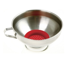 Norpro Stainless Steel  Wide Mouth Funnel W Silicone Strainer 241