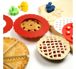3280MINI SILICONE PIE PAN SHIELDS, SET OF 4 - RED