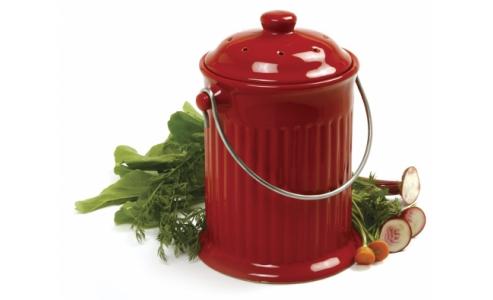 Norpro 1G Ceramic Compost Crock, Red 93R