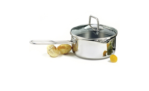 Norpro Krona Stainless Steel  1.5Qt Vented Pot/Sauce Pan With Straining Lid And Long Handle 601