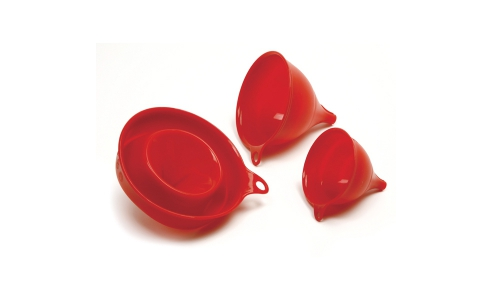 SILICONE FUNNEL SET, 3PCS, RED