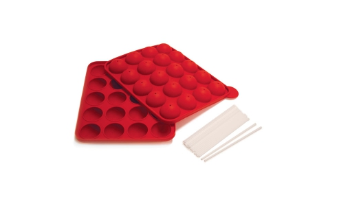 3602SILICONE CAKE POP PAN WITH 20 STICKS - RED