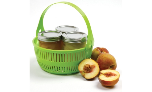 CANNING BASKET W/REMOVABLE HANDLE, GREEN